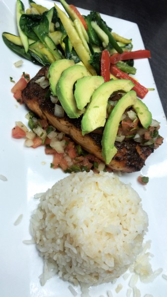 Daily dinner specials. Blackened salmon topped with pico de Gallo and avocado